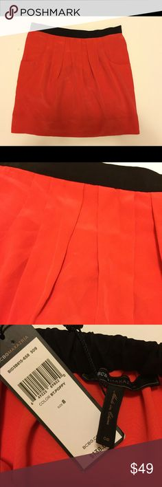 BCBGMAXAZRIA 100% silk elastic waist pockets skirt BCBGMAXAZRIA 100% silk skirt ( lining polyester), size 8,  elastic on the back of waist band( black), with pockets. Color of the skirt orange/ red. Ask all questions before purchase! No trades! Bundle to save! BCBGMaxAzria Skirts Mini