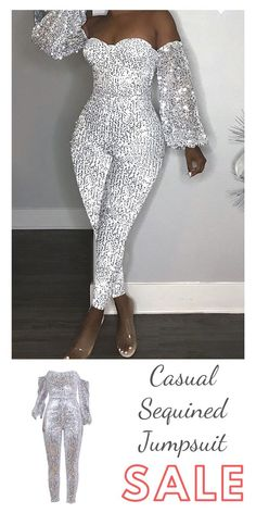 Lovely Casual Dew Shoulder Sequined Silver One-piece Jumpsuit - Abschlussball Kleider Look Fashion, Fashion Outfits, Fashion Ideas, Modest Fashion, Cocktail Wedding Attire, Cocktail Dresses, Classy Outfits, Cute Outfits, Sabyasachi Lehenga Bridal