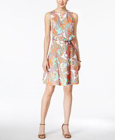 Nine West Belted Paisley-Print Fit & Flare Dress - Orange 16 Style Challenge, Review Dresses, Fit Flare Dress, Paisley Print, Nine West, Dresses Online, High Neck Dress, Street Style, Belt