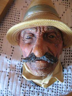 vintage roumain moustache  Bosson Chalkware tête  par NorDass
