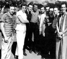 Elvis with friends and fans in september 1956 on the movie set .