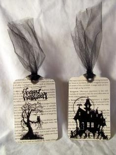 Stampin' Up! - House of Haunts; Halloween bookmarks with two tags die Halloween Paper Crafts, Halloween Tags, Holidays Halloween, Card Tags, Gift Tags, I Card, Card Kit, Paper Crafts Magazine, Hallowen Ideas