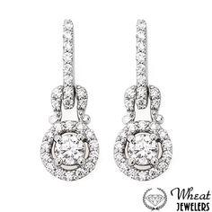 Round Halo Diamond Encrusted Dangle Earrings
