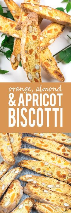 Orange, Almond and Apricot Biscotti - A delicious and healthy alternative to your usual sugary cookie! Delicious flavors of almonds, dried apricots and zesty orange everyone will love!!