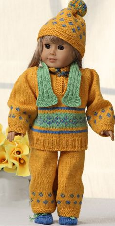 American girl doll sweater pattern ...  Doll clothes in spring's beautiful color palette                 ... beautifully dressed for Easter Design: Målfrid Gausel http://www.doll-knitting-patterns.com/0110D-american-girl-doll-sweater-pattern.html Design: Målfrid Gausel http://www.doll-knitting-patterns.com/0110D-dukkestrik.html
