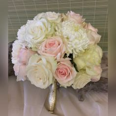 Elegant wedding bouquet in creams, whites and blush pink. Same Day Flower Delivery, Elegant Wedding, Blush Pink, Wedding Bouquets, Floral Design, Creative, Flowers, Gifts, Light Rose