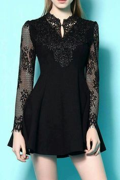 Stand Neck Long Sleeve Lace Spliced A Line Dress Trendy Dresses, Casual Dresses, Short Dresses, Sleeveless Dresses, Modest Fashion, Fashion Dresses, Trendy Fashion, Fashion Clothes, Fashion Ideas