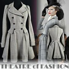 TOPSHOP 40s BUSTLE DRESS COAT TRENCH RIDING VINTAGE 50s VICTORIAN VAMP 10 38 6