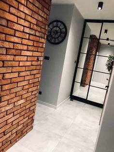 Home Room Design, Interior Design Living Room, Interior Decorating, Modern Industrial Decor, Industrial House, Home Entrance Decor, House Entrance, Kitchen Feature Wall, Brick Cladding