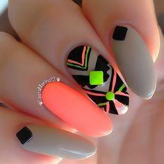 Amazing Nail Art Designs for summer Nails Polish, Nail Polish Designs, Cute Nail Designs, Aztec Nail Art, Tribal Nails, Dope Nails, Neon Nails, Gorgeous Nails, Pretty Nails