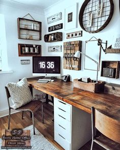 59 Rustic Style Home Office Decor And Design ideas. Advice Page: 40 (For Two) - We have prepared a picture gallery consisting of rustic home office design and decoration examples - Home Office Space, Home Office Decor, Home Decor Kitchen, Rustic Office Decor, Small Office Decor, Home Office Lighting, Office Ideas, Office Interior Design, Office Interiors