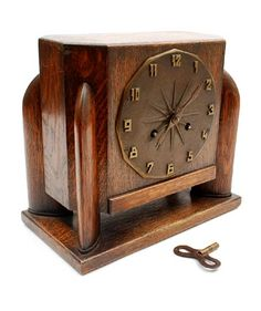 Botterweg Auctions Amsterdam > Wooden Art Deco mantle-clock with bronze dial, design & execution unknown, the Netherlands Art Deco Decor, Art Deco Design, Design Design, Clock Art, Diy Clock, Art Nouveau, Wooden Clock, Wooden Art, Antique Clocks