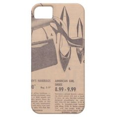 """Vintage Shoes and Handbags iPhone 5/5S Case--If you love finding a bargain, this Vintage Clothing iPhone case for you! Travel back in a time machine with this vintage, 1962 sales circular. The advertisement features such deals as """"Women's Handbags $2.00"""" and """"American Girl Shoes $8.99-$9.99."""" This ironic case is a great way to show some mid-century flair, while protecting your iPhone 5/5S. #Vintage #Shoes #iPhone #Purses"""