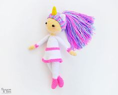 CROCHET PATTERN Linda the Unicorn Doll Amigurumi Doll 12