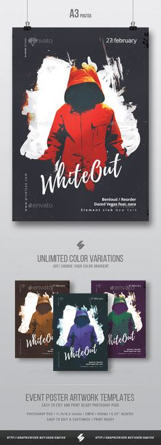 White Out - Creative #Party #Flyer / Poster #Template A3 - Clubs & Parties Events Download here: https://graphicriver.net/item/white-out-creative-party-flyer-poster-template-a3/19368875?ref=alena994