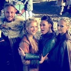 Vikings - behind the scenes - season 4 - Ubbe, Lagertha, Astrid, Torvi