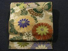Beautiful Classical Flower & Butterfly Pattern Vintage Maru Obi