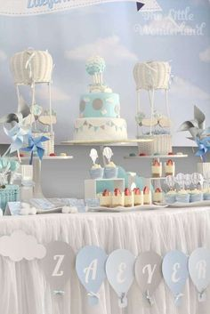 Dessert table at a hot air balloon birthday party! See more party planning ideas at CatchMyParty.com!