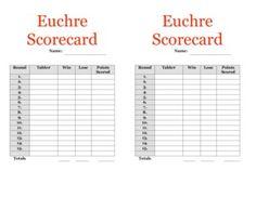 Image Result For Progressive Euchre Score Cards  Euchre