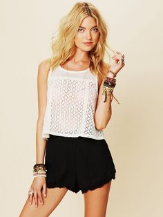 Free People Scallop Novelty Swing Top