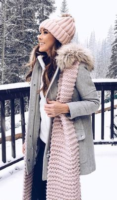 #winter #outfits gray button-up coat