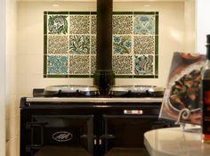 Victorian Ceramics William De Morgan AGA 1 Victorian Tiles, Victorian Fireplace, Aga Surround, English Interior, Glazing Techniques, Tile Manufacturers, Fireplace Surrounds, Kitchen Appliances, Kitchens