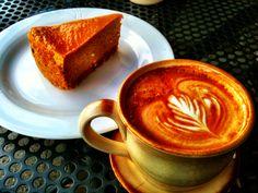 The Perfect Autumn Dessert Combo: Pumpkin Cheesecake w/ Cinnamon Graham crust and Counter Culture Cappuccino.