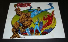 Rare vintage original 1975 Fantastic Four Marvel Comics poster: John Romita Sr art/1970's Marvelmania. SEE 1000's MORE RARE VINTAGE MARVEL AND DC COMICS SUPERHERO POSTERS AND COMIC BOOK ART PAGES FOR SALE AT SUPERVATOR.COM