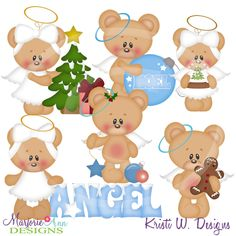 Christmas Angels, Christmas Crafts, Christmas Ornaments, Paper Piecing Patterns, Love Bear, Cute Bears, Digital Stamps, Winter Time, Holidays And Events