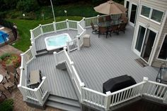 Long Island Decking Inc. Trex Pro Platinum Composite Deck Builder Installer of Cambridge Patio Pavers and Outdoor Living Products Backyard Retreat, Backyard Patio, Island Deck, White Deck, Deck Colors, House Colors, Hot Tub Deck, Balustrades, Deck Decorating