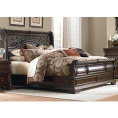 ABBYSON LIVING Kingston Espresso Sleigh King-size Bed | Overstock.com Shopping - The Best Deals on Beds