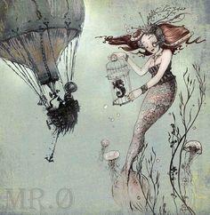 Fantasy Art Print - Mermaid Print - Giclée Wand KUNSTDRUCK nautische - Steampunk Art - Meerjungfrau Fantasy Art - Seahorse - durch das filigrane auf Etsy, 5,95€