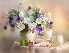 Sweet couple by Luiza Gelts - Луиза Гельтс, via Art Floral, Pinterest Arte, Watercolor Flowers, Watercolor Art, Still Life Pictures, Wildlife Paintings, Tea Art, Gold Art, Sweet Couple