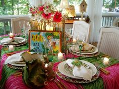 Tropical or  Hawaiian party... so elegant and such an upscale look for a party!    via Between Naps on the Porch