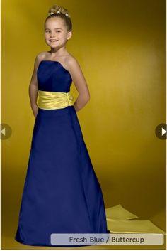 blue with yellow sash bridesmaid dress - bridesmaids dresses ...