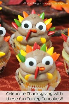 check out this super fun Turkey Cupcakes Recipe to help you celebrate Thanksgiving. These cupcakes will be a hit at all your Thanksgiving gatherings! Thanksgiving Turkey, Thanksgiving Recipes, Happy Thanksgiving, Cupcake Recipes, Dessert Recipes, Turkey Cupcakes, Cupcake Day, Favorite Holiday, Cupcake Toppers
