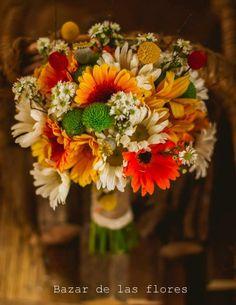 #rustic #gerberas #craspedia #aster #wedding #bouquet
