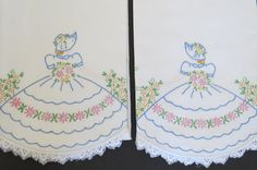 Vintage SOUTHERN BELLE Hand Embroidered Pillowcases - Set of 2 - Tube Pillowcases - Shabby Chic Bedding - Vintage Bedding Linens