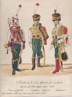 l'Armée de Joachim Murat, roi de Naples Guides de l'état Major du Roi 1812 Brigadier Trompette Capitaine de Guides Lieutenant
