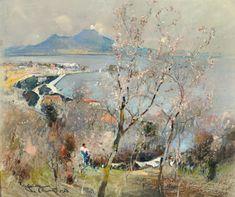 Casciaro Giuseppe (Ortelle, LE 1863 - Napoli 1941) Panorama di Napoli pastelli su carta, cm 28x34