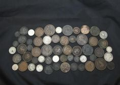 Foreign currency incl Canadian dimes, pennies, Newfoundland 20 cent coin, Repuplica Mexicana, Regno D 'Italia, approx 55 coins. Coins, Jewelry & Paper Money Auction ending 6/5/13