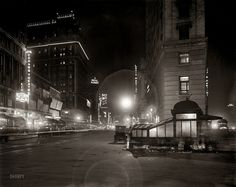 """New York circa 1911. """"Broadway at night from Times Square."""""""