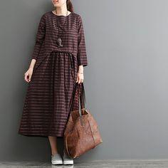 Abito manica lunga in cotone autunno abito in lino di newstar2016