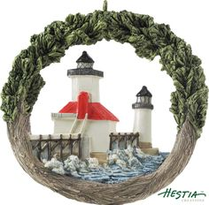St. Joseph Lighthouse in Benton Harbor, Michigan sculpted ornament by Hestia Creations. #hestiacreations #customgift #marbleheadma #bentonharbor #stjosephlighthouse