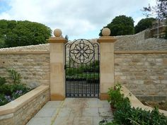 Wrights of Campden create pier caps and balustrades in beautiful limestone. Call our Gloucestershire experts on 01386 700497 Sidewalk, Cottage, Exterior, Outdoor Structures, Patio, Stone, Outdoor Decor, Wall, House
