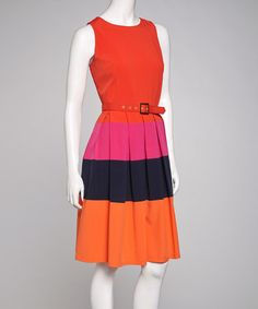 Take a look at this Poppy & Black Belted Sleeveless Dress by Sharagano on #zulily today!
