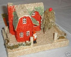 Red and Green Putz House with Santa.   Papa Ted's is now archived at Cardboard Christmas.   Thank you, Paul.