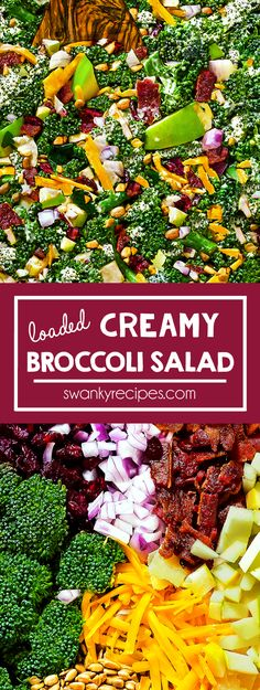 Loaded Creamy Broccoli Salad - Classic Broccoli Salad with bits of cranberries, bacon, cheddar cheese, onion, nuts, and apple. Quick and healthy side salad recipe to bring to a potluck or feature on holiday menu. Classic summer salad I healthy vegetables I salad recipes I potluck ideas I meal prep #potluck #salad #broccoli