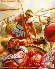 Battle of Leuctra 371 BC - the thebans led by Epaminondas defeat a larger spartan army using the famous oblique order tactic Greek History, Roman History, Ancient History, Ancient Rome, Ancient Greece, Military Art, Military History, Greco Persian Wars, Greek Soldier