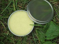 Simple plantain salve with coconut oil. Stops the itch from bug bites.